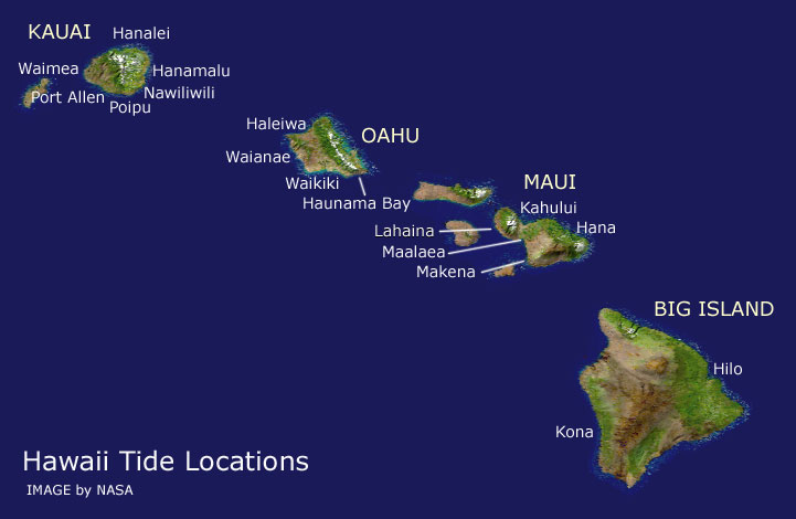Tide Location Map  Current Tides for Hawaii  Tides for Kauai